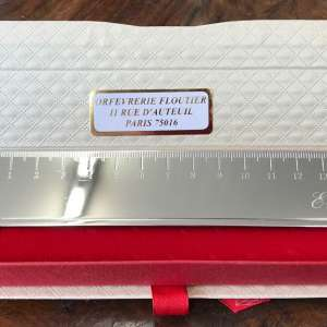 règle en métal argenté objet de bureau personnalisable par une gravure cadeau pour homme