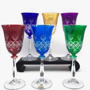 verres cristal taillé coloré