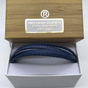 Bracelet bleu en cuir pour homme