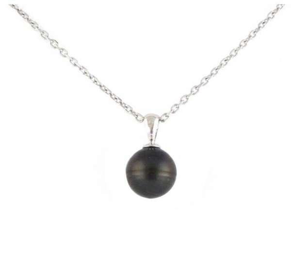 Collier en argent avec perle de Tahiti. En argent massif