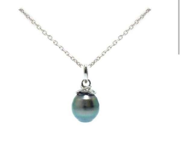 Collier en argent avec une perle cerclée de Tahiti