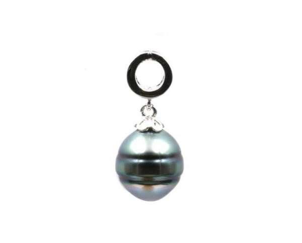 collier en argent avec perle ronde de Tahiti