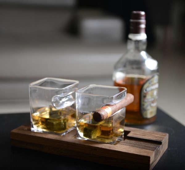 set de deux verres à whisky et cigares