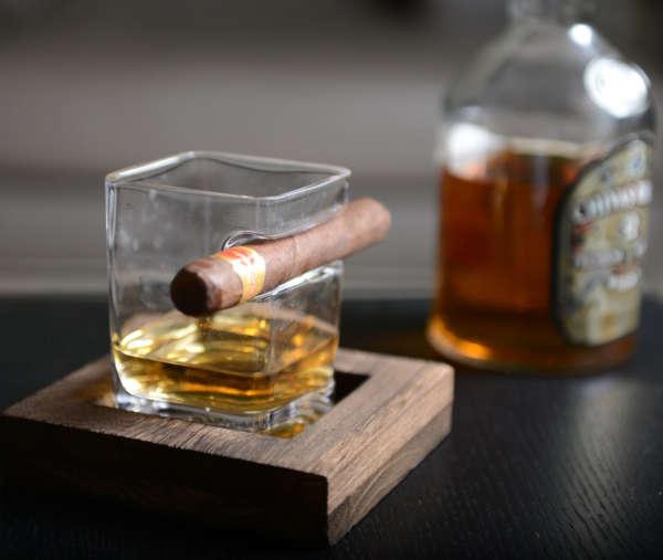 cadeau set verre à whisky et cigare