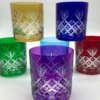 Verres à whisky en couleur, en cristal de Boheme, artisans qualifiés, violet